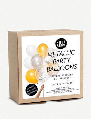 KNOT & BOW Metallic Party Balloons pack of 12