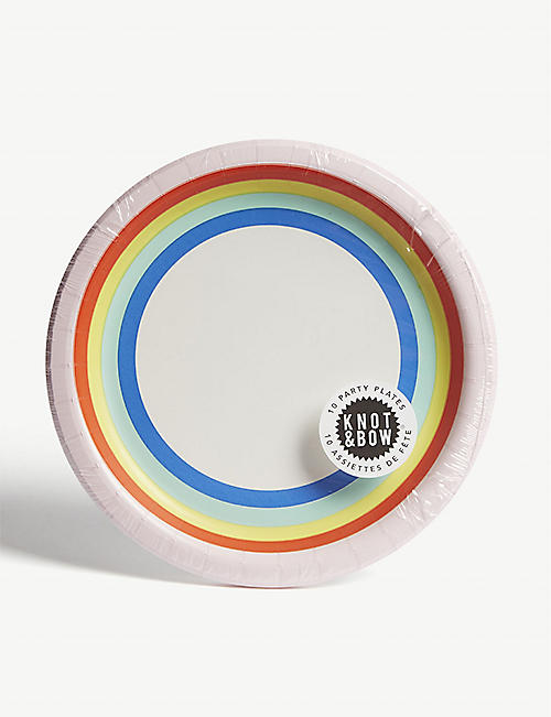 KNOT & BOW: Rainbow paper plates pack of ten