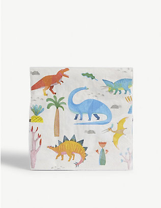 TALKING TABLES: Dinosaur party paper napkins set of 20