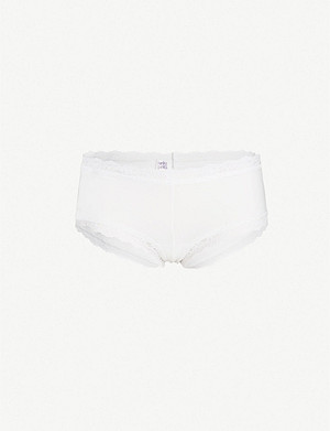 HANKY PANKY Cotton With A Conscience cotton and lace boyshort briefs