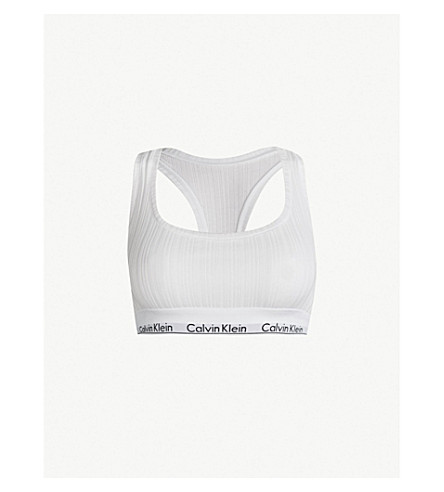 228fcbd7aa85c CALVIN KLEIN Modern Cotton ribbed stretch-cotton bralette (100+white