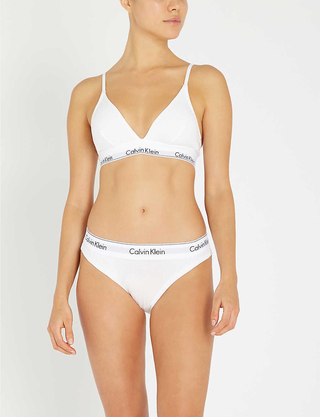 dfafafc0440 CALVIN KLEIN - Modern Cotton ribbed stretch-cotton triangle bra ...
