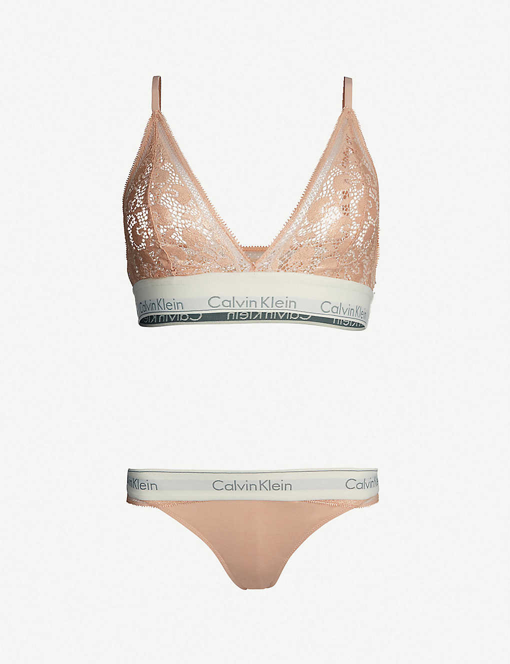 c848d5069a7 CALVIN KLEIN - Logo-print lace and jersey lingerie gift set ...