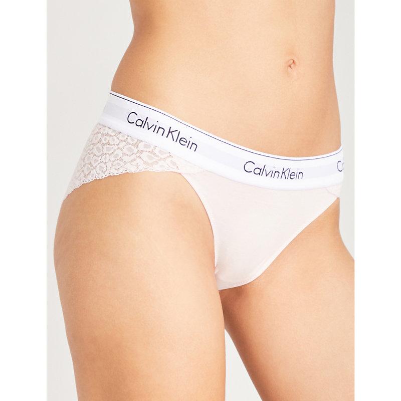 d16881a977 Calvin Klein Modern Cotton Low-Rise Lace Bikini Briefs In 2Nt Nymphs Thigh