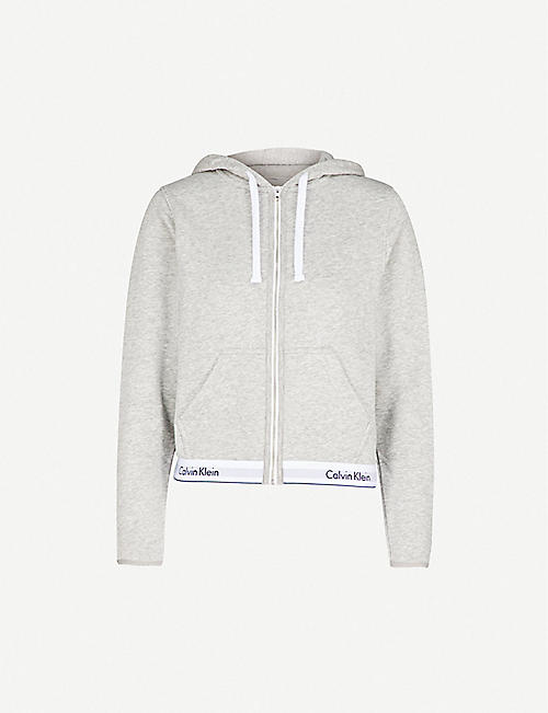 CALVIN KLEIN: Modern Cotton zip-up cotton-jersey hoody