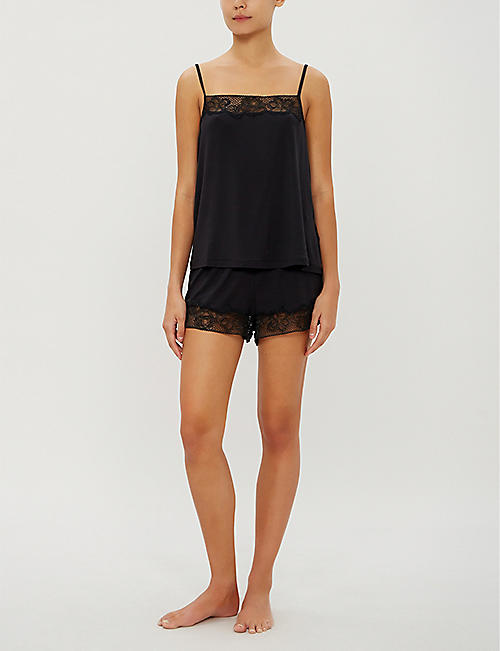CALVIN KLEIN CK Black jersey and lace camisole