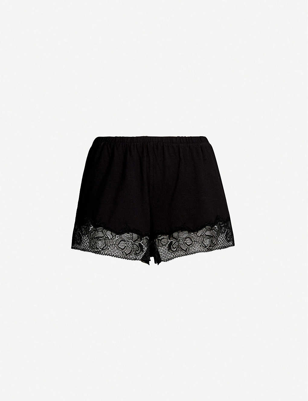 0dcae3bc5d8d2 CALVIN KLEIN - CK Black jersey and lace pyjama shorts | Selfridges.com