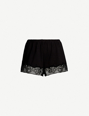 CALVIN KLEIN CK Black jersey and lace pyjama shorts