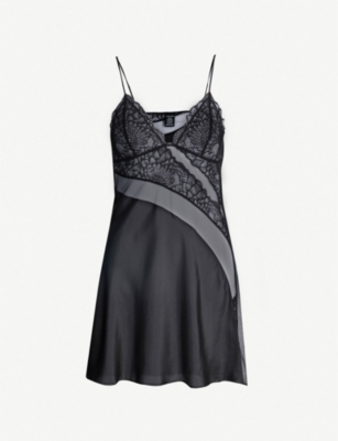 CALVIN KLEIN Fan Floral lace and tulle-trimmed silk chemise