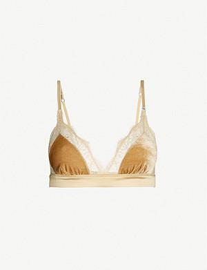 LOVE STORIES Love Lace velvet and satin triangle bralette