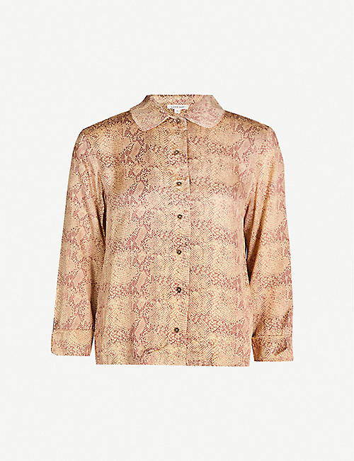 LOVE STORIES Joe snake-print satin-crepe pyjama shirt