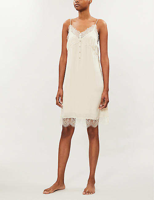 LOVE STORIES Emily lace-trimmed crepe slip dress