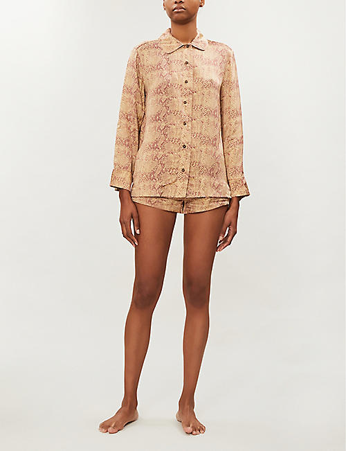 LOVE STORIES Sunday logo-trim snake-print satin-crepe pyjama shorts