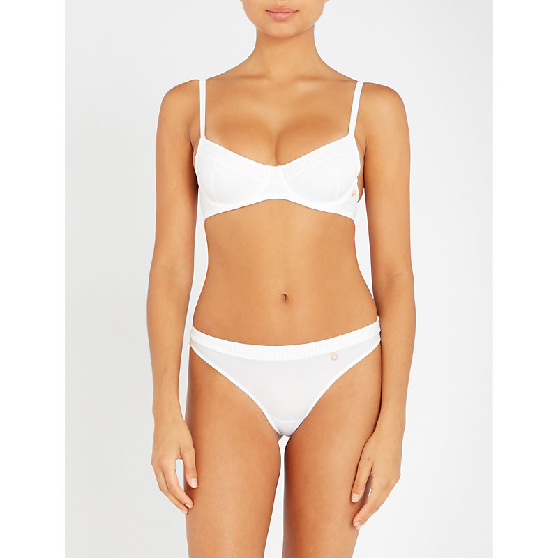 ELLE MACPHERSON BODY | The Body Perforated Stretch-Jersey Underwired Bra | Goxip