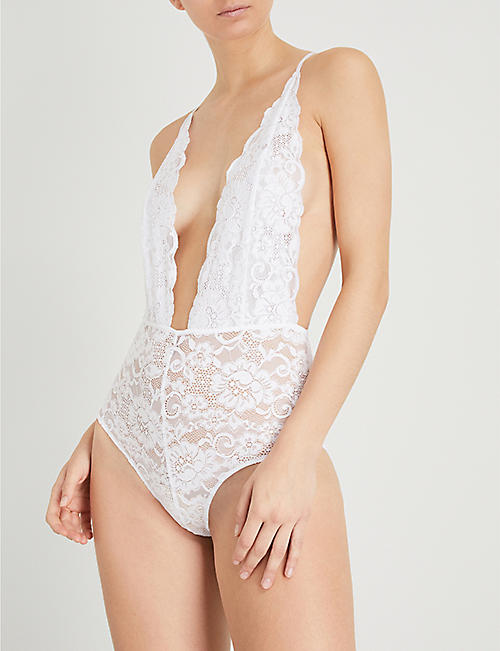 WE ARE HAH Comin' in Haht stretch-lace bodysuit