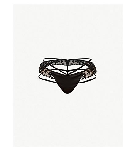 91fd2c4bb17 LIVY Satin-panel lace and stretch-silk thong (Black
