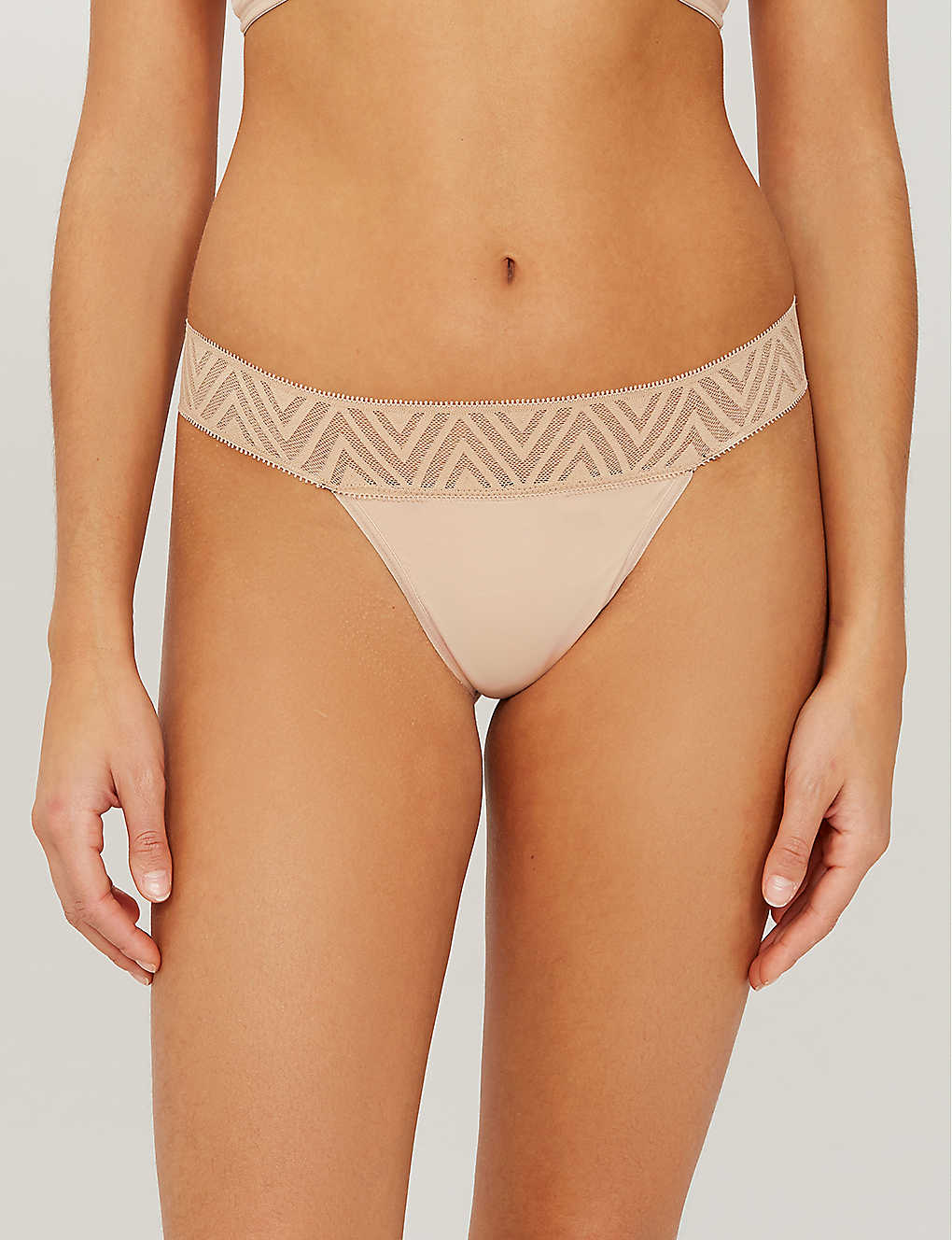 THINX: Mid-rise lace and stretch-jersey thong
