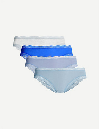 STRIPE & STARE: Pack of four lace stretch-jersey briefs