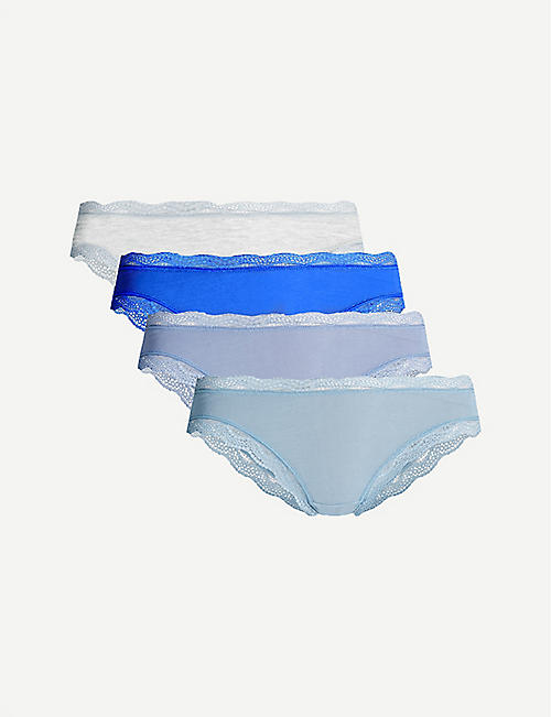 STRIPE & STARE Pack of four lace stretch-jersey briefs