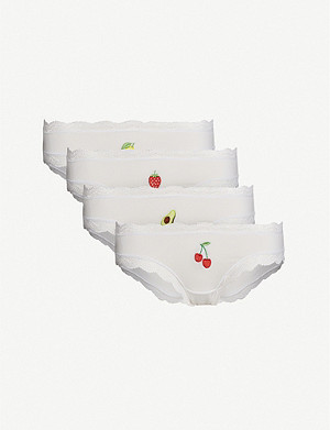 STRIPE & STARE Set of four Basics Fruit stretch-modal briefs