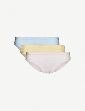STRIPE & STARE Pack of four bride-embroidered stretch-jersey briefs