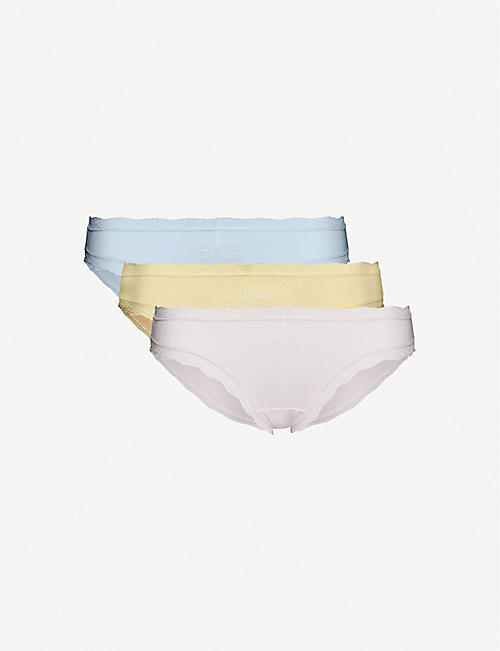 STRIPE & STARE: Pack of four bride-embroidered stretch-jersey briefs