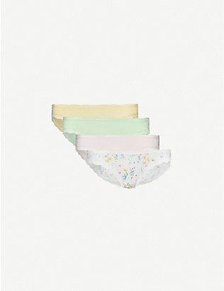 STRIPE & STARE: Pack of four lace-trimmed stretch-jersey briefs