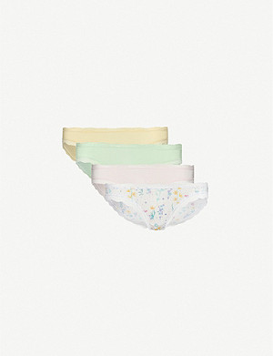 STRIPE & STARE Pack of four lace-trimmed stretch-jersey briefs