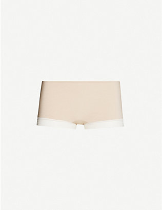 SLOGGI: Wow Embrace high-rise lace-trim stretch-jersey shorts