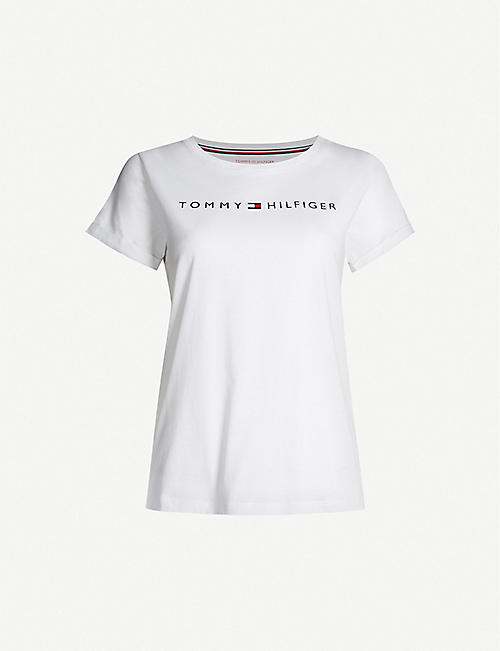 TOMMY HILFIGER: Logo-print cotton-blend jersey T-shirt