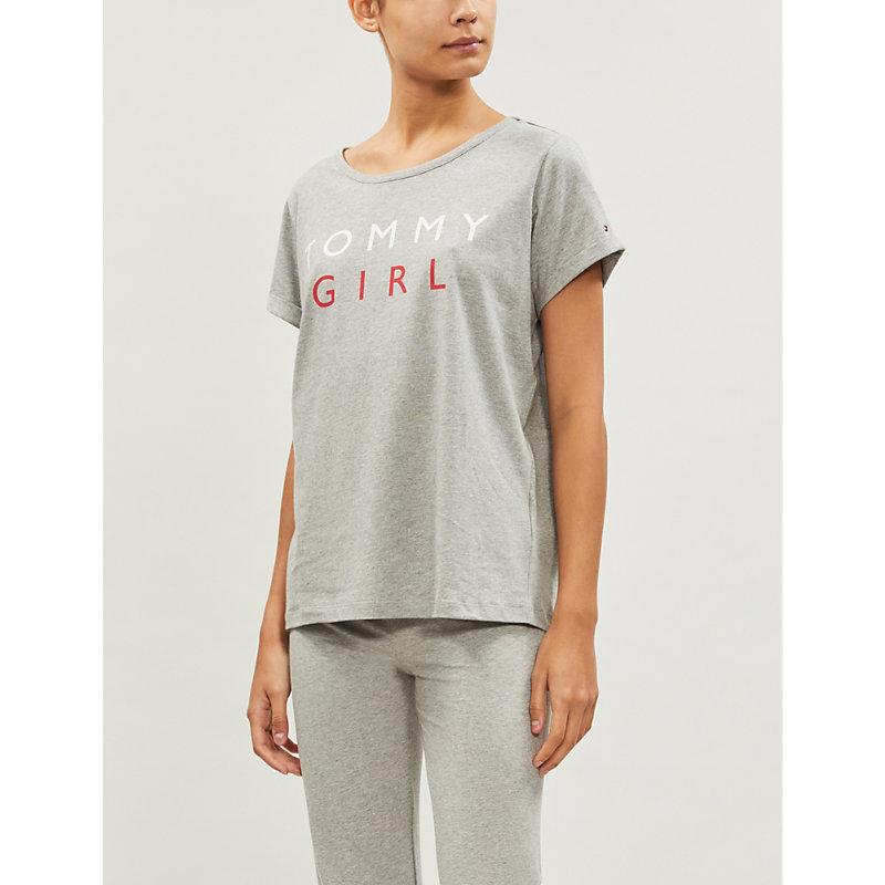 Tommy Hilfiger Logo-Print Cotton-Jersey T-Shirt In Grey Heather