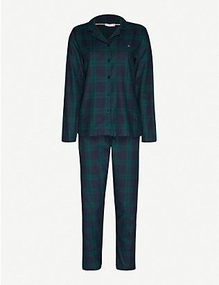 TOMMY HILFIGER: Tartan-check flannel pyjama set