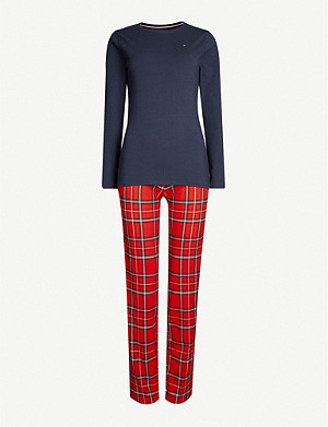 TOMMY HILFIGER Tartan-print stretch-cotton pyjama set