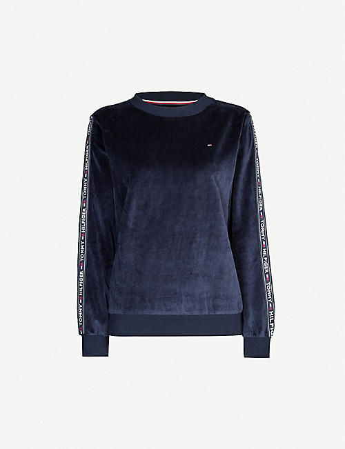 TOMMY HILFIGER Logo-embroidered velour lounge top