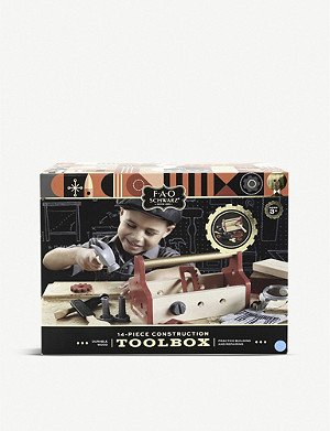 FAO SCHWARZ Wooden tool box 14pc set