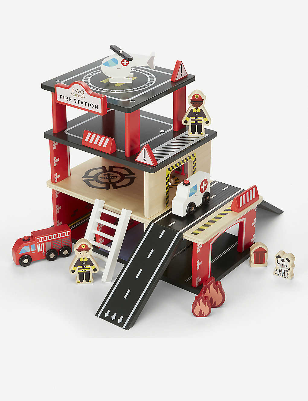 FAO SCHWARZ: Wooden fire station 31pc set