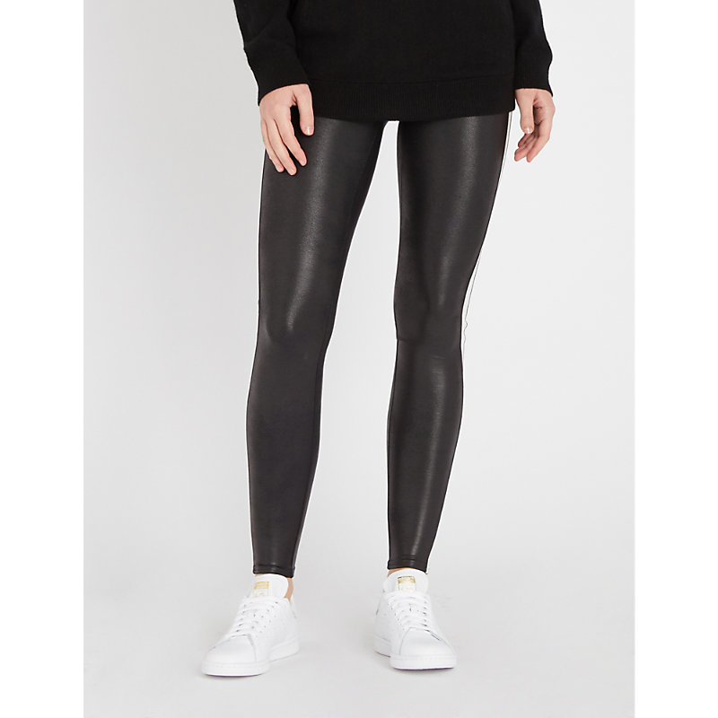 SPANX | Side-Stripe Faux-Leather Leggings | Goxip