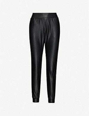COMMANDO Mid-rise faux-leather jogging bottoms