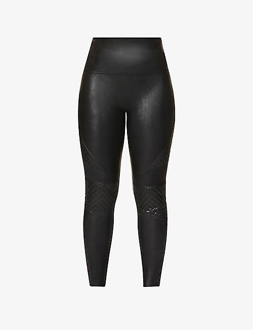 SPANX Quilted faux-leather leggings