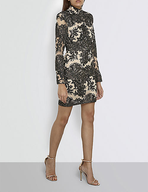 MISSGUIDED Floral-lace mini dress