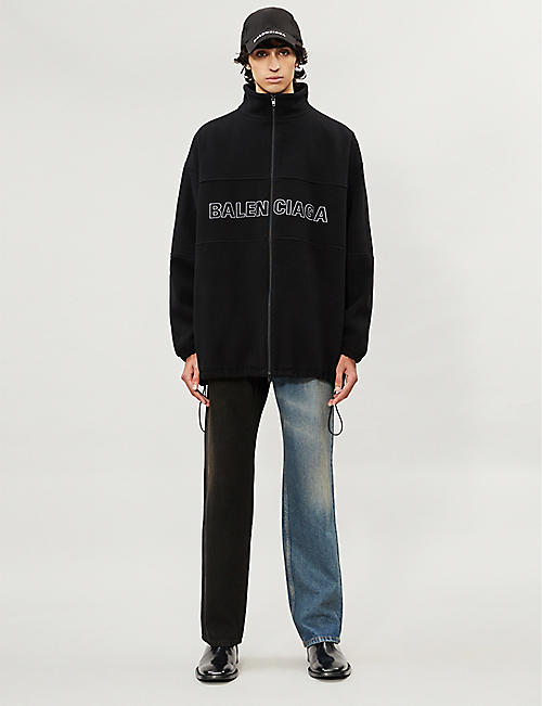 BALENCIAGA Logo-embroidered padded wool jacket
