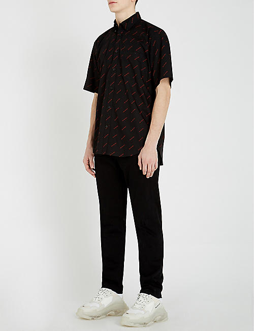 BALENCIAGA Logo-print oversized cotton shirt