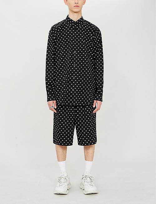 db55523a3 BALENCIAGA Logo-print relaxed-fit cotton-poplin shirt. Quick Shop
