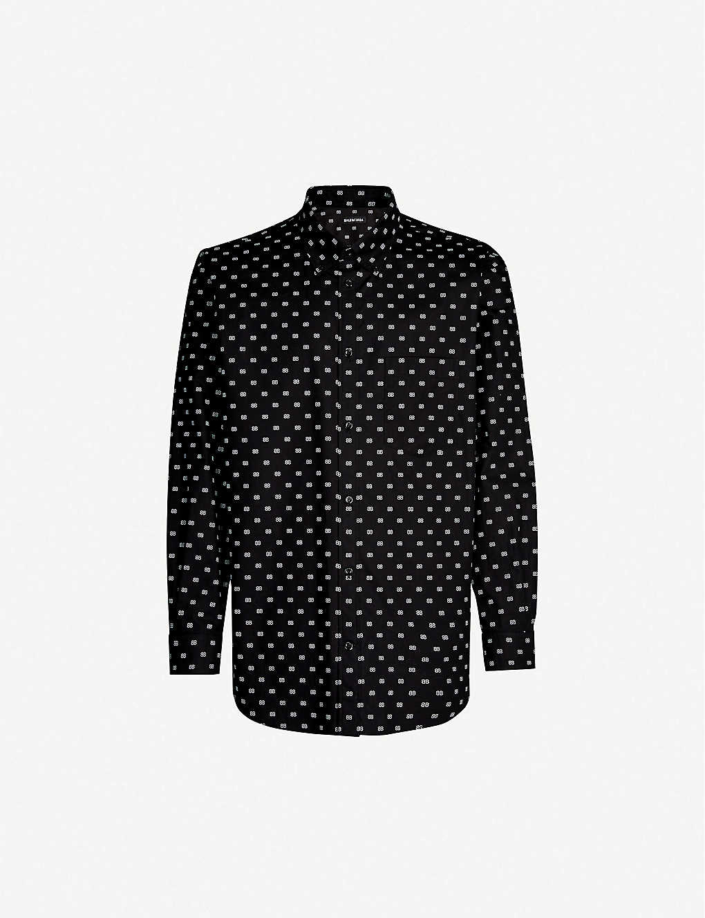 d4436c02f95f BALENCIAGA - Logo-print relaxed-fit cotton-poplin shirt | Selfridges.com