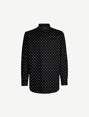 BALENCIAGA Logo-print relaxed-fit cotton-poplin shirt