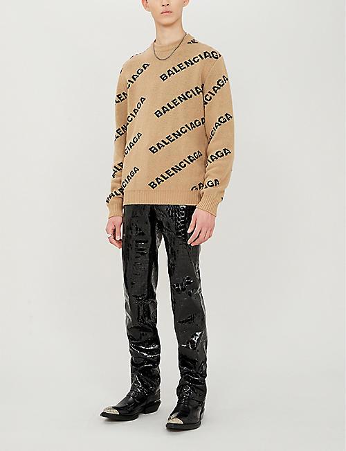 8a56c10af BALENCIAGA Logo-intarsia wool-blend jumper · Quick Shop