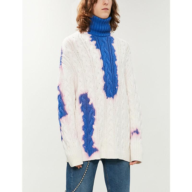 BALENCIAGA | Tie-Dye Turtleneck Cotton-Knit Jumper | Goxip