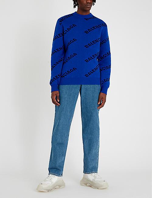 9283b2db8948a BALENCIAGA Logo-print wool-blend jumper
