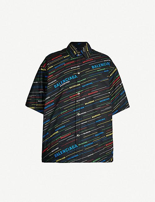 9e3429d87d7 BALENCIAGA Logo-print oversized cotton overshirt