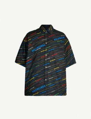 BALENCIAGA Logo-print oversized cotton overshirt